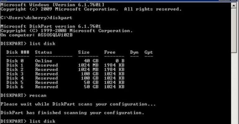 Initializing Windows Disks with DiskPart