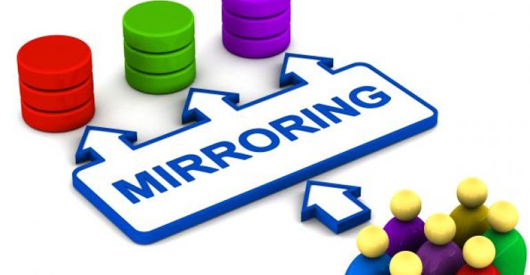 illustration of people mirroring concept and databases