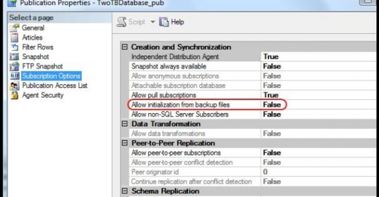Screenshot of SQL Server Log Shipping example