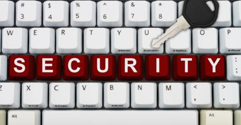 white keyboard with red letters spelling SECURITY