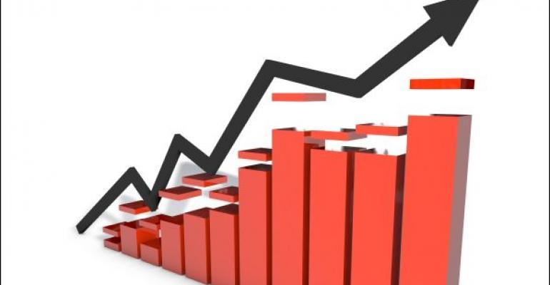 red bar graph progress chart with black arrow showing upward progress