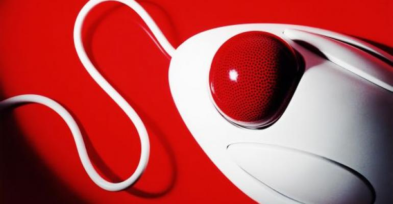 white mouse with red scroll ball on red background