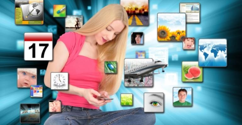 woman with iPod touch and virtual apps surrounding her