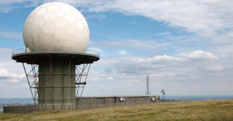 radar station with blue sky background