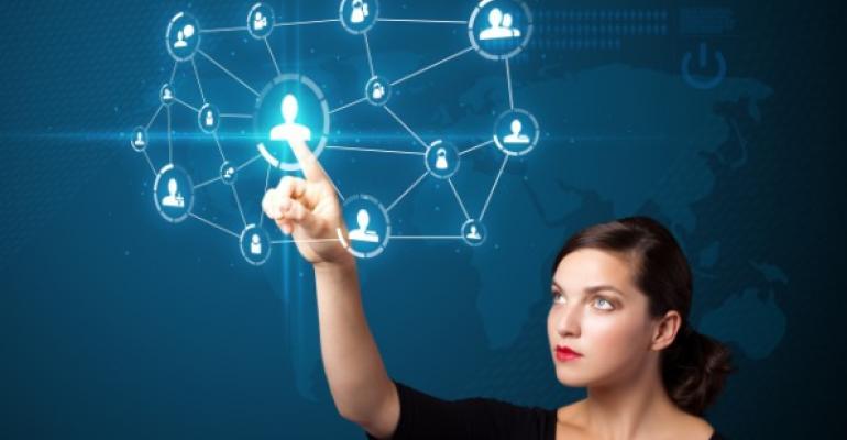 woman pointing at virtual app icons