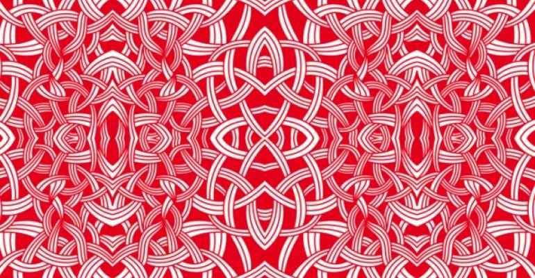 pattern of knots and points in red and white