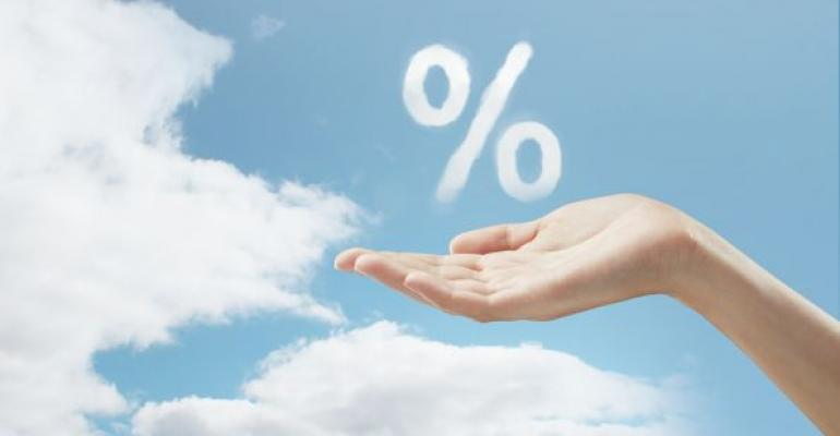 percentage sign in the clouds