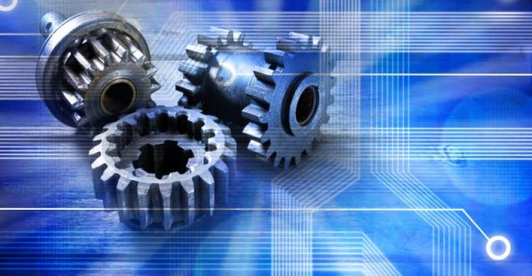 gears on a blue technology background
