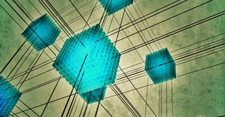 Neon blue cubes connected with a network of black lines
