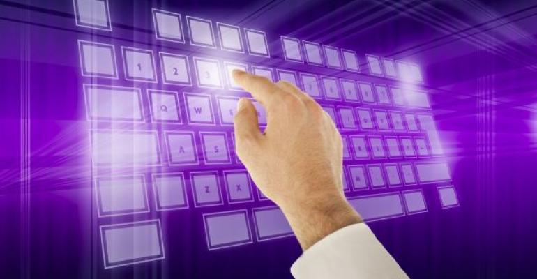 Hand touching a purple virtual keyboard