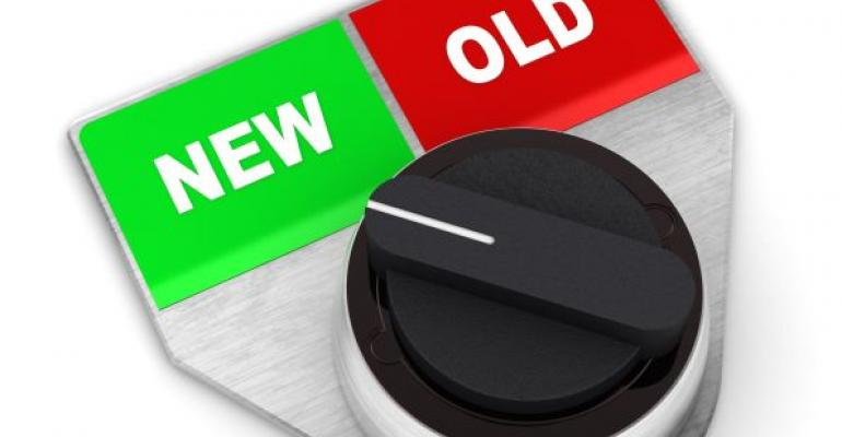dial with green option NEW and red option OLD