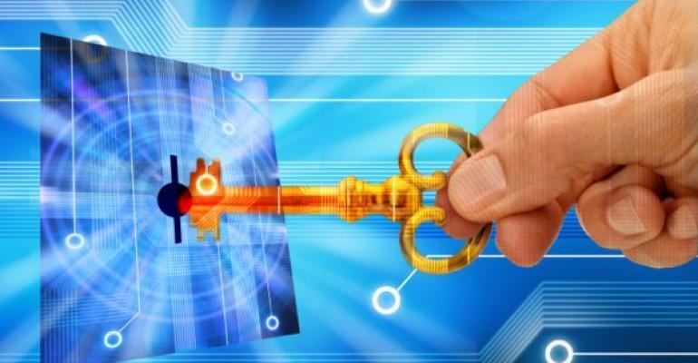 illustration of key and virtual lock