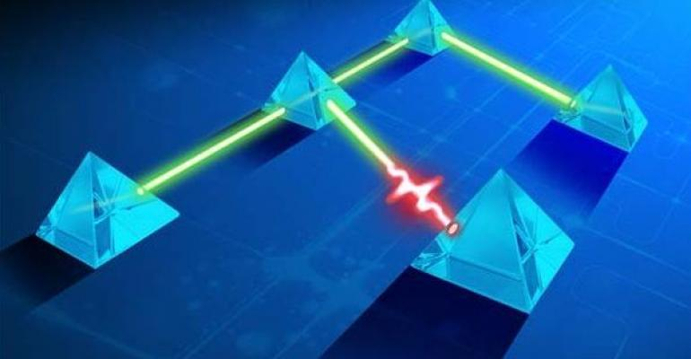 abstract pyramids connected by beams of light