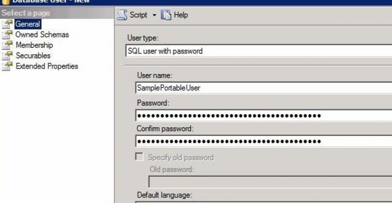 screenshot of SQL Server 2012 Database UserNew screen