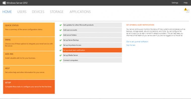 Windows Server 2012 Essentials Dashboard