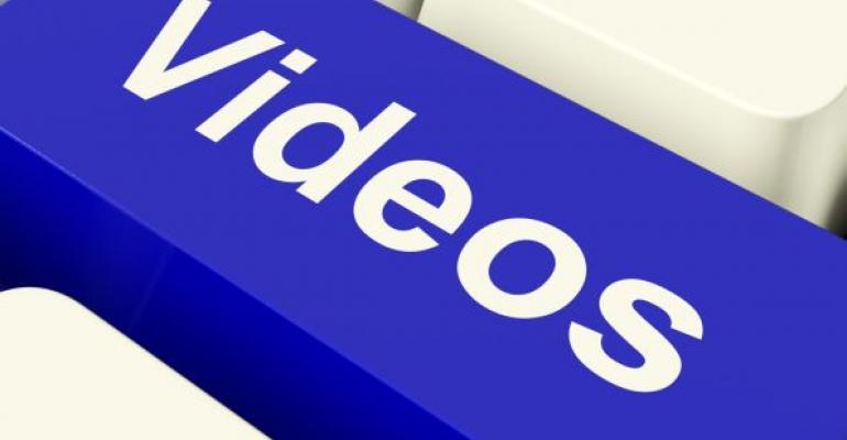 videos written on a blue keyboard key