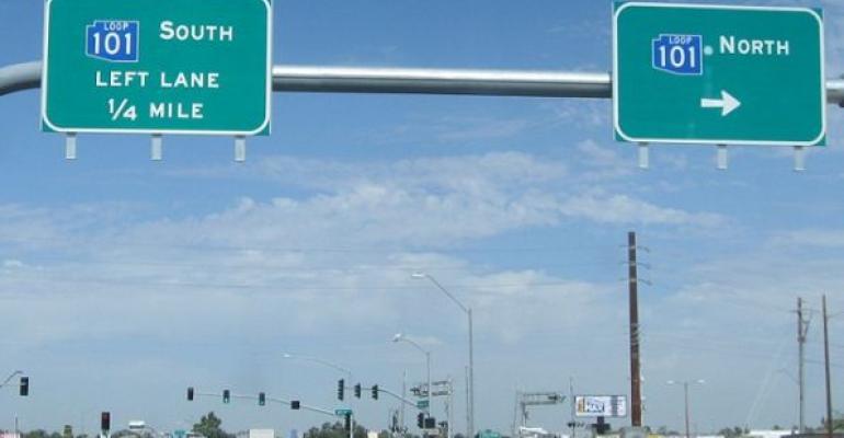 Phoenix Arizona highway Loop 101 road signs above streets