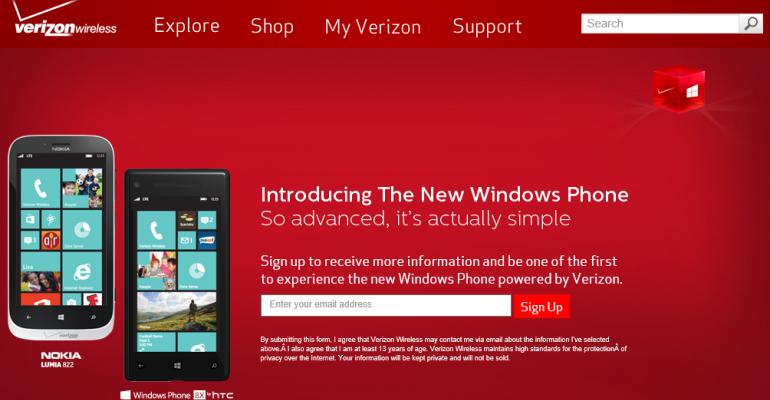 Verizon Wireless Will Accept Windows Phone 8 Pre-Orders Tomorrow