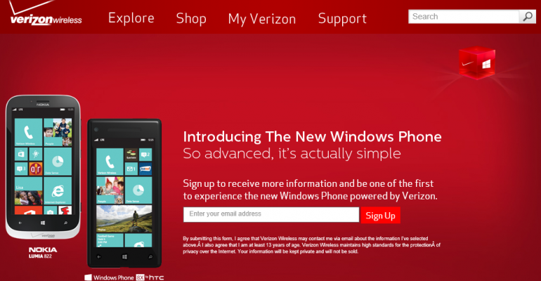 Verizon Wireless Will Accept Windows Phone 8 Pre-Orders Tomorrow
