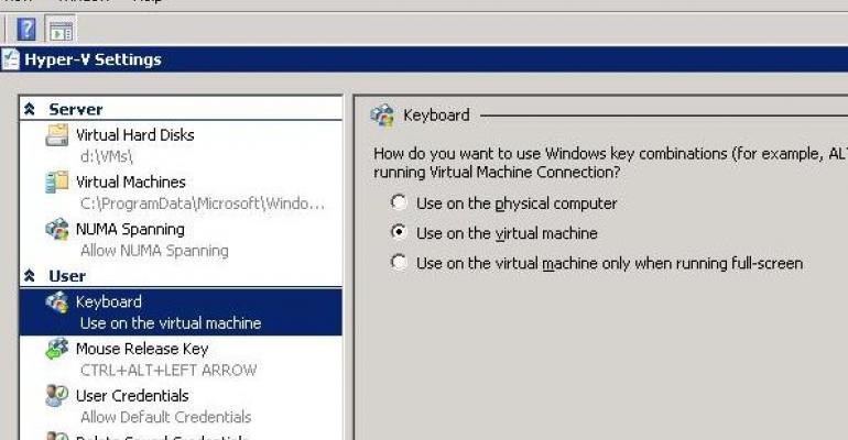 HyperV settings screenshot