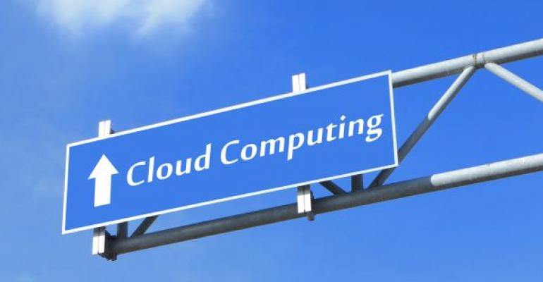 cloud computing blue highway road sign