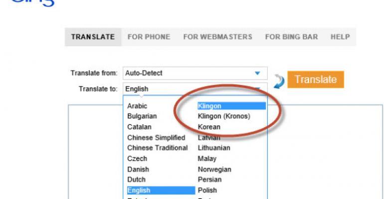 Qap bing! Translate to Klingon Using Bing