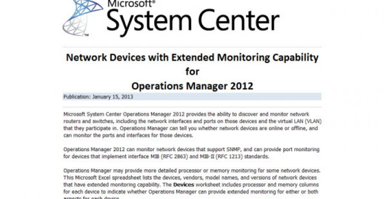 There's a List for That: Network Devices with Extended Monitoring Capability for OpsMgr 2012