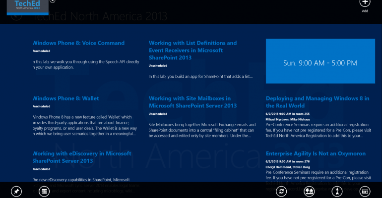 Navigating the TechEd 2013 App for Windows 8