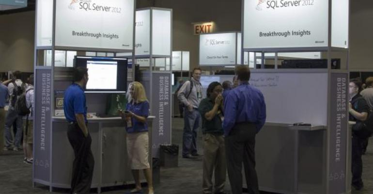 SQL Server 2012 signs at a conference