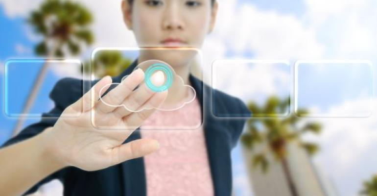 woman touching virtual cloud button on clear screen