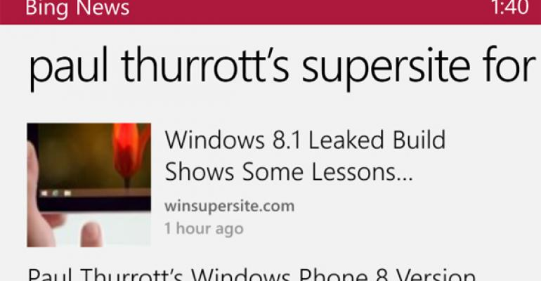 Enjoy SuperSite Content on the Go with the Bing News App for Windows Phone 8