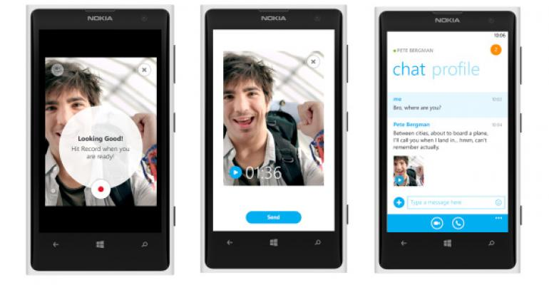 Video Messaging Comes to Skype for Windows Phone 8