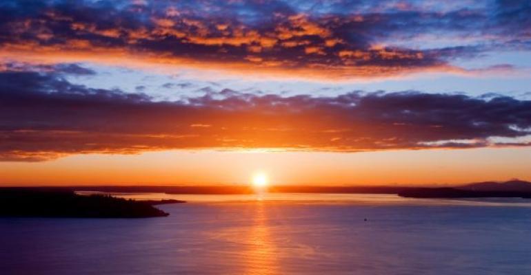 Seattle Washington sunset over ocean