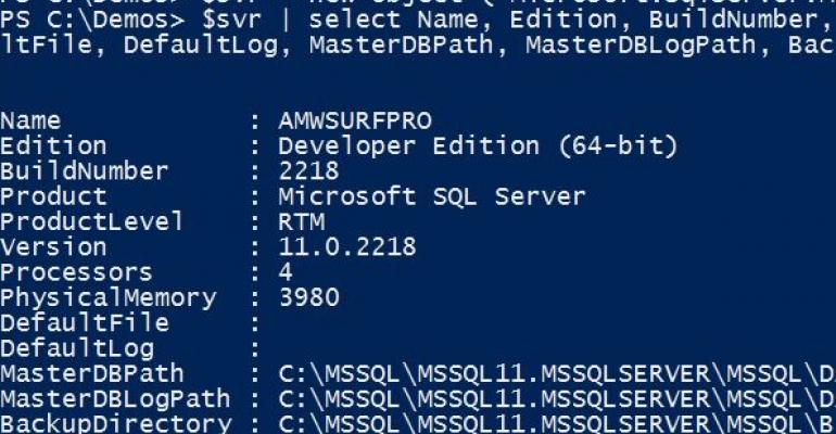 Windows PowerShell script with dark blue backgroud
