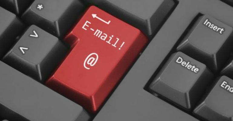 computer keyboard with red email key