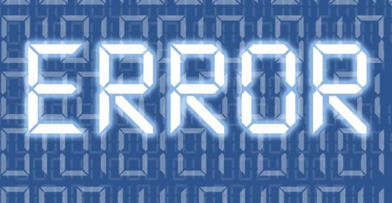 Error message with blue background
