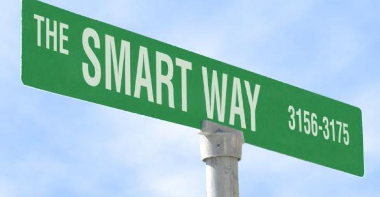 green street sign labled The Smart Way