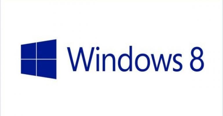 Blue Windows 8 logo on white background