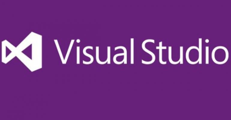White Visual Studio logo on purple background