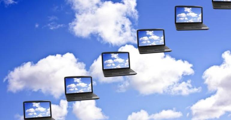 clouds on multiple laptops representing Windows Azure backups