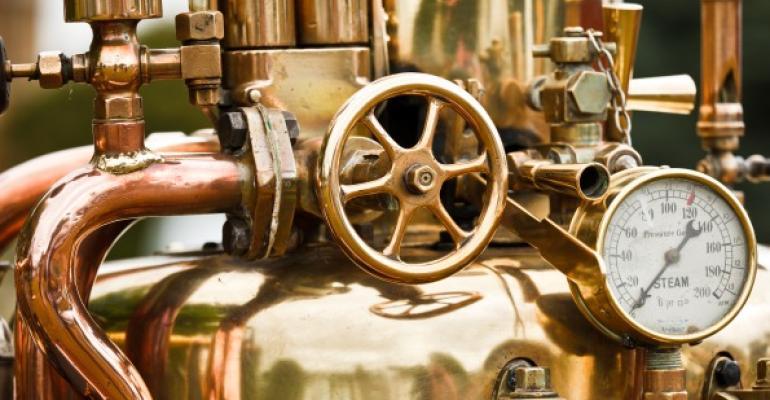 brass parts of a steam engine