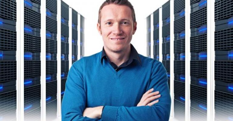 Man in a datacenter