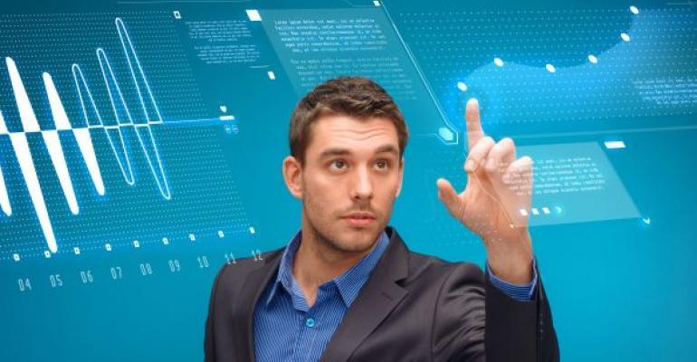 man monitoring database using virtual screen