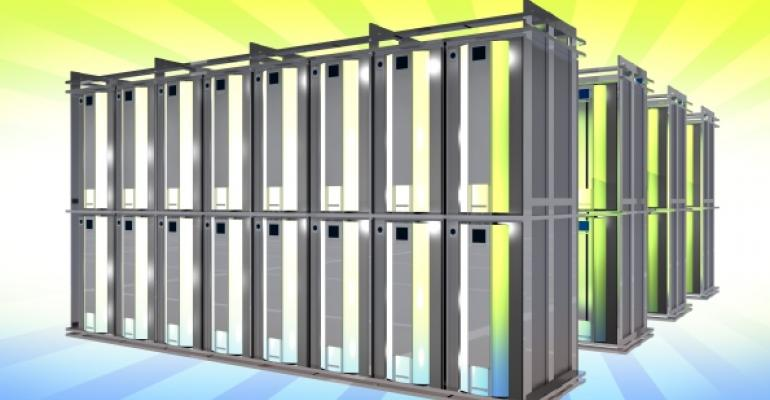 virtual server racks on a gradient green to blue background