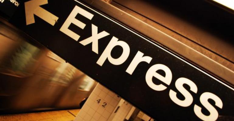 Express subway train sign