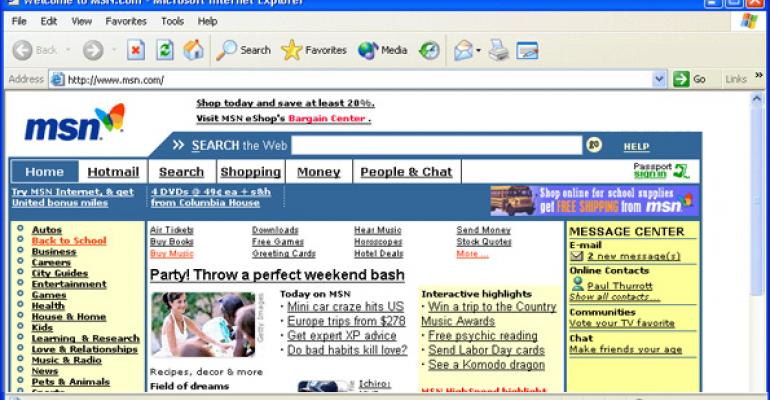 This is what IE 6 looked like on Windows XP when both were first released