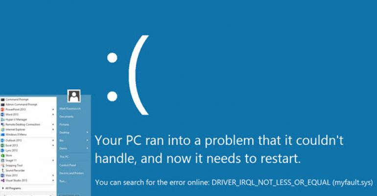 Start Menu Coming to the Bluescreen of Death in Windows?
