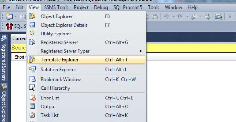 Opening the Template Explorer in SSMS