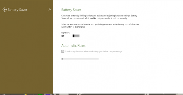 Battery Saver in Windows 10 Build 9860