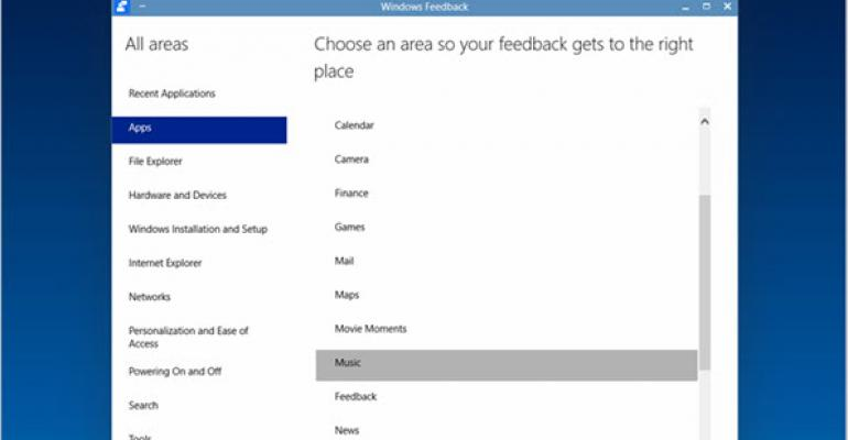 How to Supply Feedback in Windows 10 Technical Preview
